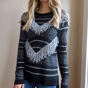 Rachel Roy Fringed Chevron Striped Sweater